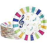 Piatti usa e getta – 80 piatti di carta, forniture per feste musicali per antipasto, pranzo, cena e dessert, compleanni dei bambini, diametro 22,9 cm
