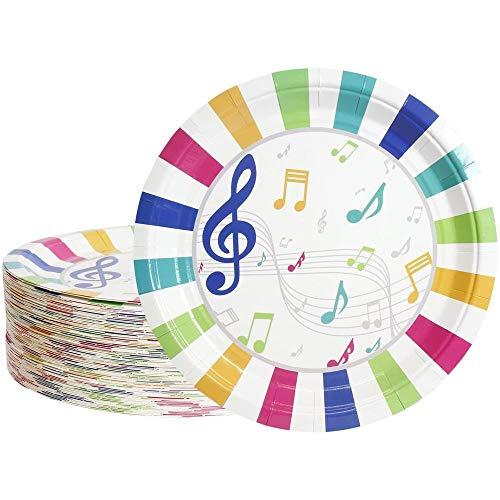 Platos desechables – 80 platos de papel, suministros de fiesta de música para aperitivos, almuerzos, cenas y postres, cumpleaños de niños, 9 pulgadas de diámetro