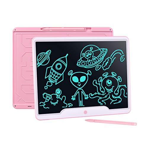Upgrow LCD Schreibtafel 15 Zoll, Helle Schrift mit Anti-Clearance Funktion, großer Augenschutz-Bildschirm, Papierlos LCD Writing Tablet Mahltafel für Schreiben Malen Notizen(Rosa)