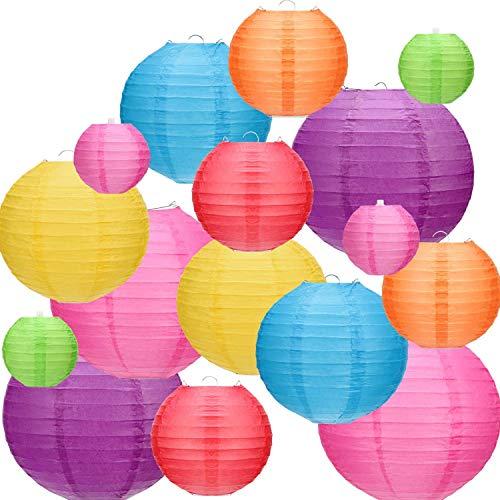 Kohree 16 x Laterne Papier Lampions Bunte Papierlaternen Kugel Lampenschirm Lampions Runde Chinesisches Papier Hängen Dekorationen Ball für Geburtstag Wohnkultur Partys Hochzeiten (15, 20, 25, 30cm)