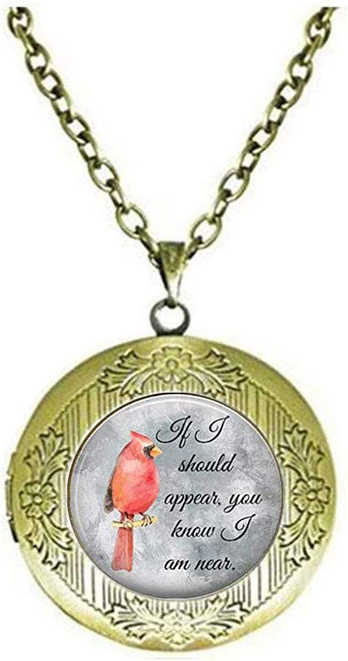Cardinal Red Bird Jewelry Art Parrot Max 53% OFF Locket Jacksonville Mall Necklace