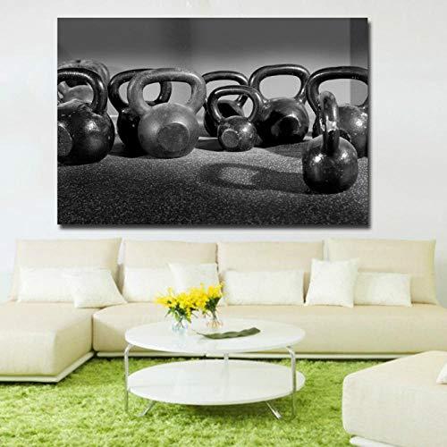 TeriliziModerne Hd-Gedruckte Leinwand Kunst Fitnessgeräte Viele Hanteln Schwarz Gemälde Poster Wandbilder Für Wohnzimmer-70X105Cm Ungerahmt