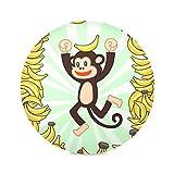 Zemivs Set di 4 tappetini Rotondi per tavoli Cartone Animato Carino Scimmia Tavolo da Pranzo Divertente Tappetino da caffè 15,4 Pollici Facile da Pulire per Cucina Tavolo da Pranzo Festa di Fe