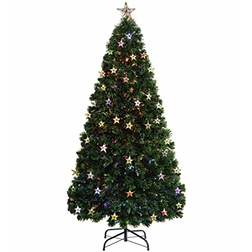WeRChristmas Pre-Lit Fibre Optic Multi-Function Christmas Tree with Tree Topper and Lights, Multi-Colour, 7 feet/2.1 m