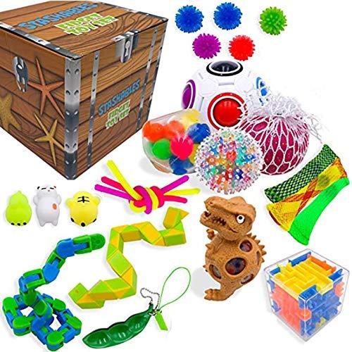 Sensory Fidget Toys Set, Stressabbau Squeeze Toys für Kinder Erwachsene, Bundle für Anti-Angst-Handspielzeug Spezialspielzeug-Sortiment für Geburtstagsfeier begünstigt Geschenke, Treasure Box Preise