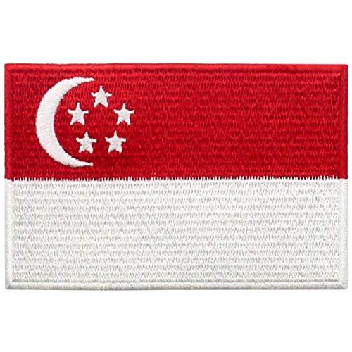Singapur Flagge Bestickter Aufnäher zum Aufbügeln/Annähen