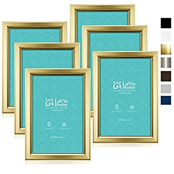 LaVie Home 4x6 Picture Frames  6 Pack Gold  Simple Designed Photo Frame with High Definition Glass for Wall Mount & Table Top Display Set of 6 Classic Collection