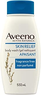 Aveeno Body Wash, Active Naturals Unscented Skin Relief Wash for Sensitive Skin, Large, 532mL