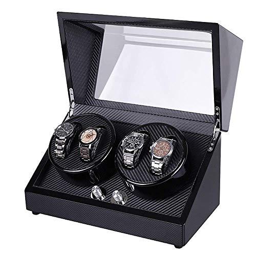 ZhenHe Caja de reloj automático doble a prueba de polvo, 4 relojes de lujo automático con motor Mabuchi silencioso, 5 modos de rotación para hombres y mujeres