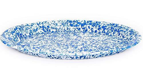 Enamelware Oval Platter, 18 inch, Blue/White Splatter