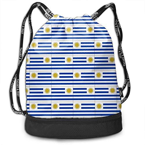 Ovilsm Cord Bag Sackpack Originality Uruguay Flag Drawstring Bag Rucksack Shoulder Bags Travel Sport Gym Bag Print - Yoga Runner Daypack Shoe Bags with Zipper and Pockets