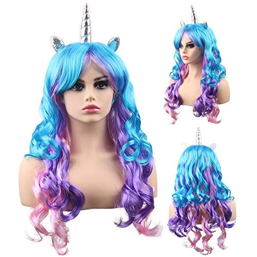 kaste Rainbow Unicorn Wig For Women Long Curly Wavy Synthetic Hair Wigs Halloween Party Cosplay