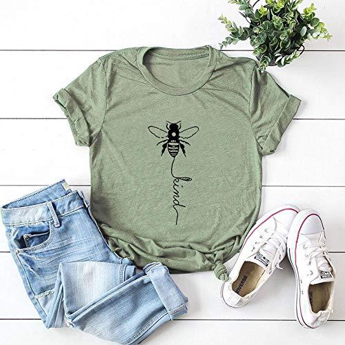 T-Shirt Femme Nouvelle Impression d'abeille 100% Coton Femmes T-Shirt Femmes Chemises O Cou Manches Courtes Été Tshirt Rose Haut Femme T-Shirts XXXL 1255-Vert Olive