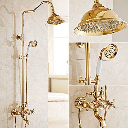 AQiMM Waschbecken Wasserhahn Bad Armatur Messing Gold Regendusche Set Messing Antik Warmes Und Kaltes Wasser Düse Waschtischarmatur Badezimmer Waschbeckenamatur