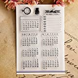 Stamps - Permanent Calendar Clear Stamps for Scrapbooking Transparent Rubber Seal Stamp for Card Making DIY Hand Account Scrapbook ()