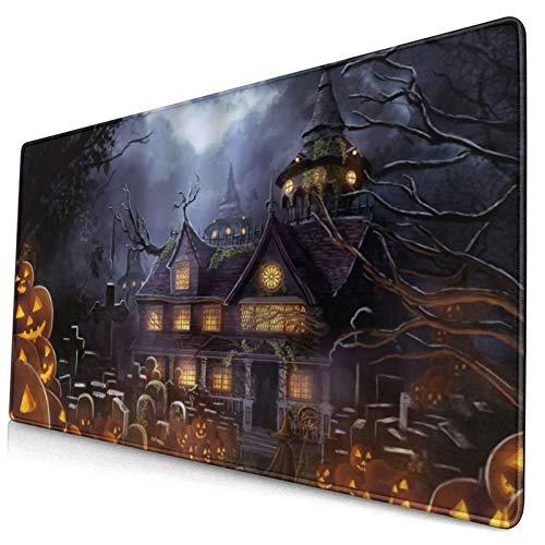 HUAYEXI Alfombrilla Gaming,Castillo extraño Halloween Calabaza Malvada Lámpara Tumba Cementerio In Doom Mist Night Dark Danger Scary Scene,con Base de Goma Antideslizante,750×400×3mm