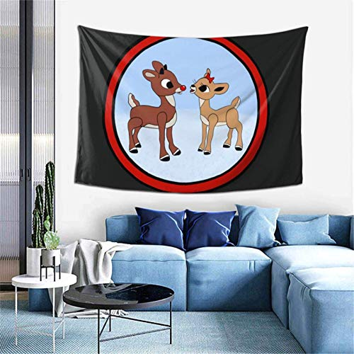 hehai Rudolph The Red-Nosed Reindeer & Clarice Tapestry Amazing Hippie Colorful Wall Hanging Cozy Tapestries Wall Hanging Decoration for Living Room Bedroom Home Decor 40x60 in