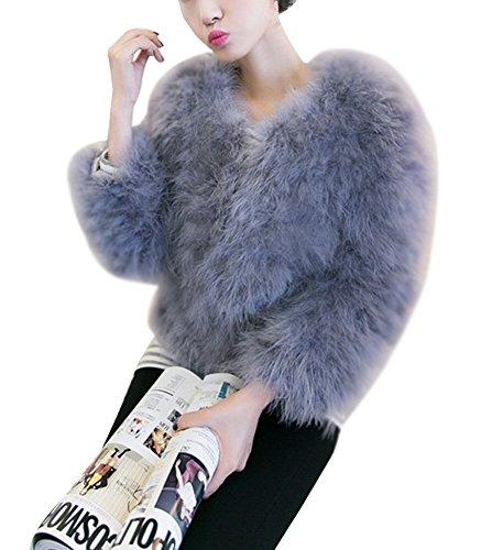 LaoZan Elegante Abrigo Corto de Piel sintética de Pelo del Invierno Parka de Las Mujeres S Gris Claro