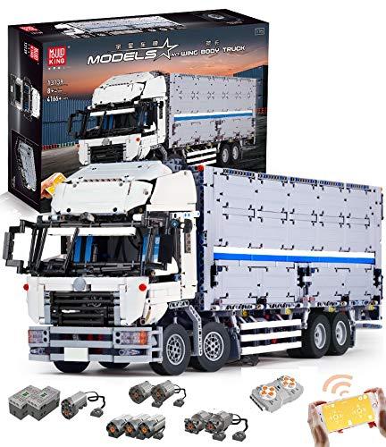 PEXL Technik LKW Container Bausteine Bausatz, Technic Ferngesteuertes LKW Modell Bauset mit 8 Motors, 4160 Klemmbausteine Kompatibel mit Lego