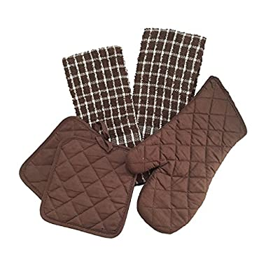 Greenbrier Greenbrier02 Kitchen Linen Set with One Oven Mitt, Two Pot Holders & Two Dish Towels, Brown/White