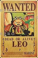 海賊アニメLEOレオ さびた錫のサインヴィンテージアルミニウムプラークアートポスター装飾面白い鉄の絵の個性安全標識警告バースクールカフェガレージの寝室に適しています