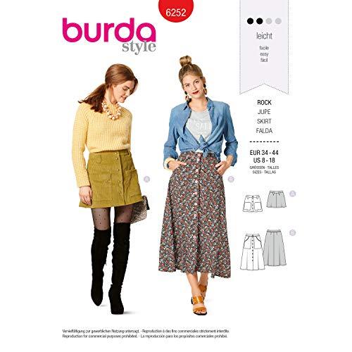 Burda Schnittmuster 6252, Mini- und Midirock [Damen 34-44] zum selber nähen, ideal für Anfänger [L2]