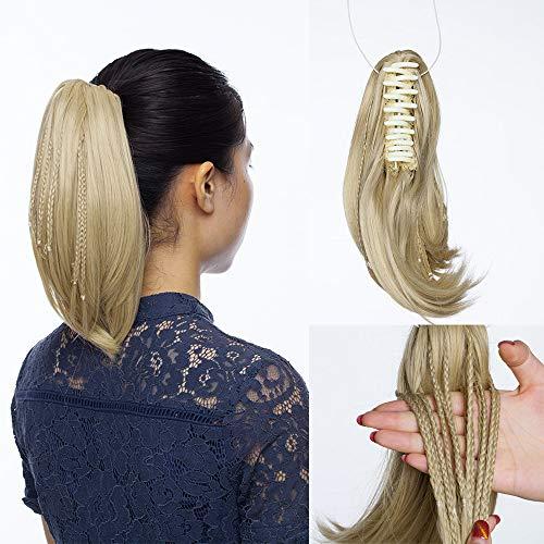 SEGO Postiche Queue de Cheval Fausse Cheveux Synthetique Fibre Ponytail Extension Sans Clip Meche - [Pince Tresse] 28 CM Marron Clair Mix Bleach Blond