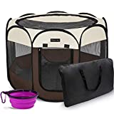 Hepeeng Portable Foldable Pet Playpen and Carrying Case Collapsible Travel Bowl Indoor/Outdoor Use with Water Resistant and Removable Shade Cover for Dog/Cat/Rabbit Suitable for Pets Under 26lb