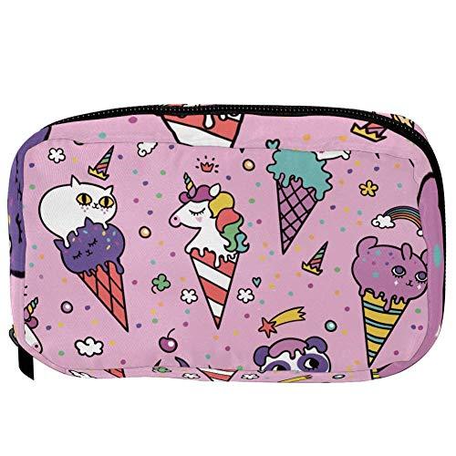 TIZORAX Cosmetic Bags Ice Cream Unicorn Cat Handy Toiletry Travel Bag Organizer Makeup Pouch for Women Girls