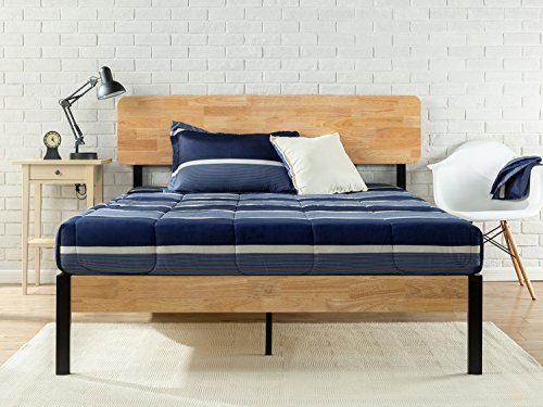 Zinus Olivia Metal and Wood Platform Bed with Wood Slat Support, Queen
