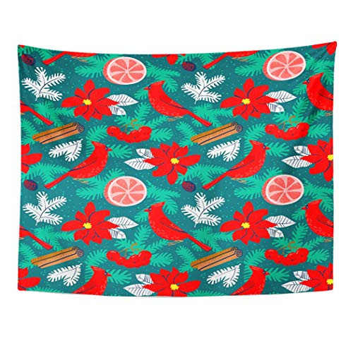 ShiHaiYunBai Tapestry Wall Hanging Christmas Poinsettia Red Flower Winter Floral Cardinal Bird Grapefruit Canella 60'x 80' Home Decor Art Tapestries for Bedroom Living Room Dorm Apartment