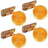 ASelected Lot de 4 Sangles à Cliquets 5m x 25mm Orange, Sangles d'Arrimage, Sangle de Serrage avec Cliquet Robustes d'une Capacité de 800kg