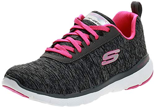 Skechers Flex Appeal 3.0-Insiders, Zapatillas, Gris (BKHP Black & Gray Mesh/Black Trim), 35 EU
