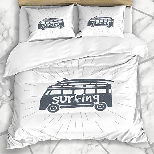 HARXISE Ropa de cama funda nórdica Camión Playa Camper Surf Viaje Verano Surf Aventura Tabla Surfer Bus California Deporte Estilo de vida Microfibra nuevo set de tres piezas Funda de edredón 1