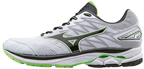 Mizuno Wave Rider 20, Zapatillas de Running para Hombre, Blanco (White/Black/Green Gecko), 44.5 EU