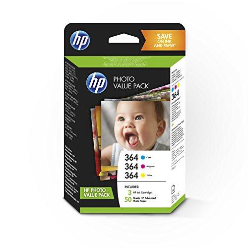 HP 364 T9D88EE, Paquete de Ahorro Fotográfico, Pack de 3 Cartuchos de Tinta Originales, Cian, Magenta y Amarillo, y 50 hojas de papel fotográfico, para impresoras HP Photosmart C5380, C6380 y D5460