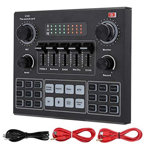 Tonysa V9 Bluetooth Soundkarte, Stereo Audio Mixer, Externe Sound Mixer, Universal Broadcast Voice Changer, Gefrosteter Sound Card für Computerspiel, Mobiltelefone, Live Broadcast