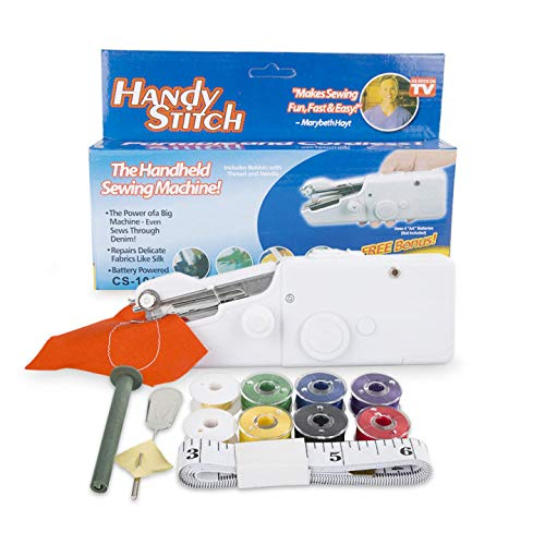 Handheld Sewing Machine,Portable MINI Sewing Machine, Beginner Electric Handheld Sewing Machine Cordless Quick Handy Stitch Fabric Clothing Kids Cloth Pet Clothes DIY Home/Travel Use