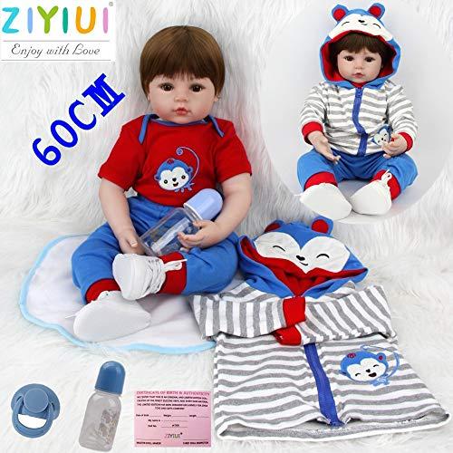 """ZIYIUI Reborn Realista Baby Doll Vinilo de Silicona Suave Hecho a Mano Newborn Doll Baby Playmate Navidad 24 \""""60 cm"""