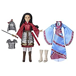 Mulan doll inspired by Disneys Mulan film: With her long black hair and film-inspired outfits, This Disney doll captures the look of the courageous character of Mulan Two removable outfits: Dress this Mulan toy in her red warrior outfit with armour a...