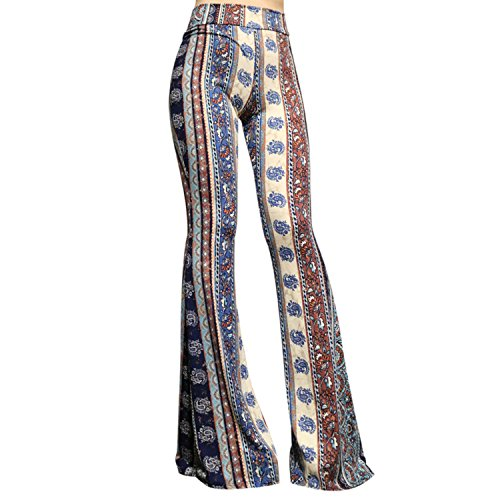 SMT Women's High Waist Wide Leg Long Bell Bottom Yoga Pants Medium Vintage Cerulean Blue