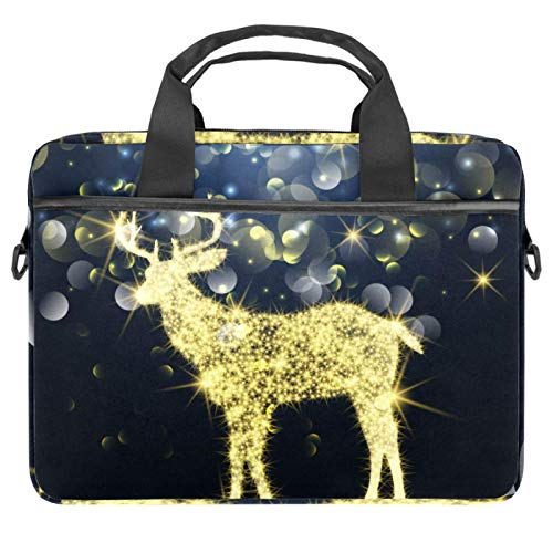 13-14.5 Inch Laptop Sleeve Case Sparkle Christmas Deer Protective Cover Bag Portable Computer Notebook Carrying Case Briefcase Message Bag