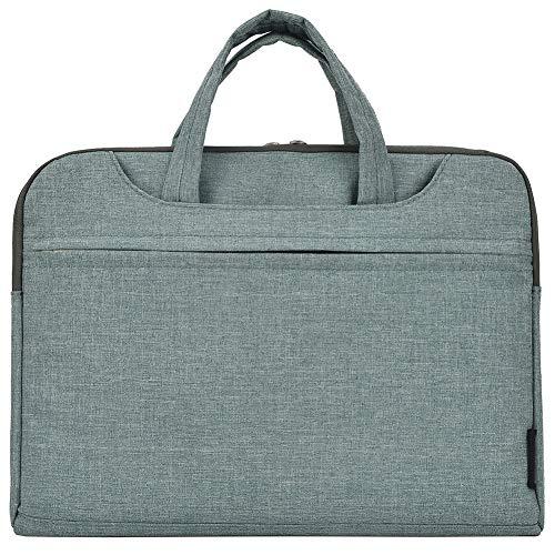"""Notebooktasche Laptoptasche Aktentasche Wasserfest Canvas-Gewebe Laptop Schutzhülle Mit Griff & Reißverschluss-Tasche,Grün 2,15\"""" (40 * 29 * 2) cm"""