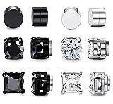 FIBO STEEL 6 Pairs Magnetic Stud Earring for Men Women Black CZ Magnet Non Pierced Clip On Earrings Set