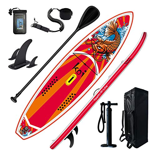 FEATH-R-LITE Inflatable Stand Up Paddle Boards 11'6'' × 34'' × 6'' for Youth & Adult with Inflatable SUP Board, Non-Slip Deck, Travel Backpack, Adj Paddle, Pump, Leash, Water Proof Bag