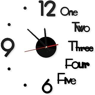 Pumpumly Gran Reloj de Pared Adhesivo 3D con Números Romanos, Decoración Regalo Para Casa, Restaurante, Oficina y Hotel (N...