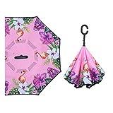 Vollautomatischer doppelschichtiger Nicht-haltender Regenschirm Sonnenschirm kreativer stehender Autowerbungsregenschirm Tragbarer Sonnenschirm Reverse UV-Schutz Damen Sonnenschirm -