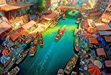 Gtfzjb Puzzle 1000 Piezas para Adultos Niños Familias Madera Clásico Dibujos Animados DIY Paisaje Regalo Creativo Decoración para El Hogar