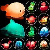 HOOJO 12 Packs Packs Light Up Bath Toys, Dinosaur and Cute Animals Bath Toys Bathtub Toys for Toddler, Pool Bath Toys for Boy and Girl Children Preschool