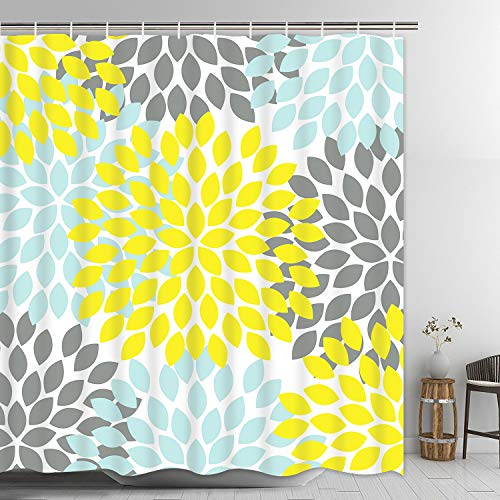 Pknoclan Dahlia Pinnata Floral Shower Curtain, Yellow and...